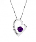 Glimmering GP007-AM 19 W X 24 H mm. Round Shape Rhodium Plated Amethyst With. Crystals Pendant