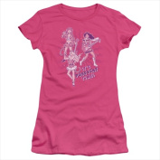 Archie Comics-Its Pussycat Time - Short Sleeve Junior Sheer Tee Hot Pink - Large