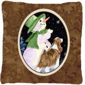 Carolines Treasures SS8949PW1414 Snowman With Springer Spaniel Indoor & Outdoor Fabric Decorative Pillow
