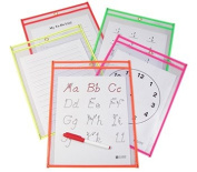 Reusable Dry Erase Pockets, 9 x 12, Assorted Neon Colours, 10/Pack