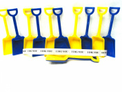 Small Toy Plastic Shovels Mix Blue & Yellow, 12 Pack, 18cm Tall, 12 I Dig You Stickers
