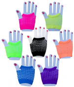ColorYourLife 14 Pairs Fingerless Fishnet Wrist Gloves in Retail Packaging