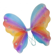 Glitter Rainbow Multi Coloured Wings, Girls' Kids' Children's Dress-Up Fancy Dress