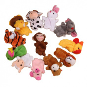 Baby Finger Puppets Koly 12Pcs Zoo Zodiac Soft Small Animal Puppets Finger Plush Toys