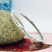 Silver Plated Message Bangle - SISTERS are forever friends...SISTERS are forever friends.... ... Quote Bangle