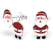 Sterling Silver Christmas Santa Earrings - Doubled-up front and back design