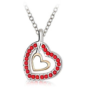 J & F - Necklace with Pendant Double Heart-Shaped. Crystal, Rhodium-Plated