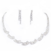 Sarahbridal Rhinestone Stud Earrnings Necklace for Women Fashion Jewellery Sets Wedding Accessories S15050
