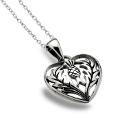 Sterling Silver 925 Thistle Heart Pendant Necklace
