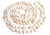 "Multicolour White Pink Lavender Freshwater Natural Cultured Baroque Pearl 120cm 47"" Long Double Knotted Necklace Present"