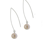 Long Peach Pearl Hook Earrings