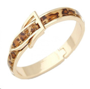 Classical Popular Gold Plated Leather Deployment Buckles Leopard Print Wide Cuff Bangle