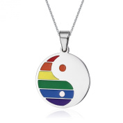 UM Jewellery Gay and Lesbian Pride Stainless Steel Yin Yang Tai Chi Round Pendant Rainbow Necklace