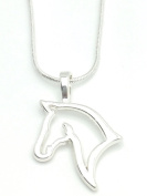 Lovely HORSE HEAD Silhouette NECKLACE Pendant Equestrian - UK Stock