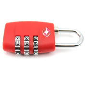 DDU(TM) 1Pc Red TSA Resettable 3 Digit Smart Combination Customs Lock Case Padlock
