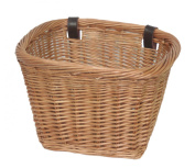 NEW! Delux, Heritage,Traditional Handmade, Rectangular, Wicker Bicycle Basket. Strengthened rim, extra length, leather straps.
