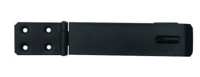 "1 x Hasp & staple 150mm 6"" safety pattern gate latch lock in epoxy black."