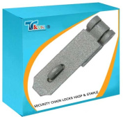 TK9K® - Security Chain Locks Hasp & Staple Heavy Duty 40mm x 115mm Hardened steel plate with concealed fixing. Rust proof hammer finish. Includes mounting screws.