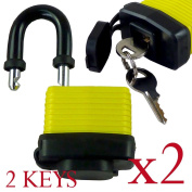 Pack of 2 - 40mm Waterproof Padlocks - Ideal for Home, Garden Shed, Bikes, Outdoors