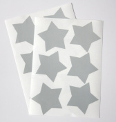 12 Large Silver Reflective Star Stickers - cycling, running or just fun.