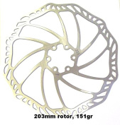 """PROMAX """"ULTRA"""" 203mm 151 GRAMMES DISC BRAKE ROTOR, STAINLESS STEEL, COMPLETE WITH BOLTS, 6 BOLT MOUNTING"""