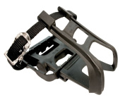 ETC Mountain Bike Resin/Alloy with Toe Clip/Strap Pedal - Black
