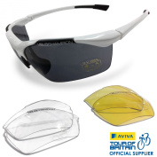 VeloChampion Tornado Cycling Running Sports Sunglasses - White with 3 Sets of Lenses and Soft Pouch - for outdoor sports like cycling running golfing trekking hiking skiing shooting fishing and driving