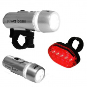 BICYCLE HEAD & REAR LIGHT 7 MODES WATERPROOF BRIGHT 5 LED BIKE LIGHTS WIDE BEAM Fusion