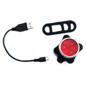DDU(TM) 1Pc Red Night Safety Red MTB Bicycle Bike LED Light Lamp Lighting USB Rechargeable