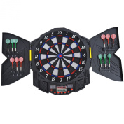 HOMCOM DART BOARD SET ELECTRONIC DARTBOARD LED DIGITAL SCORE DISPLAY SOFT TIP 27 GAMES SPEAKER SOUND WITH DARTS