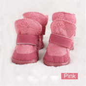 Ubesta Lovely warm Dog shoes cotton Pet shoes snow boots- pink,3