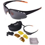 Black UV POLARISED SPORTS SUNGLASSES for Men & Women, With Interchangeable Vented Lenses