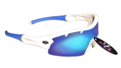 Rayzor Professional Lightweight UV400 White Sports Wrap Fishing Sunglasses, With a 1 Piece Vented Blue Iridium Mirrored Anti-Glare Lens.