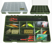 Ace Angling Adjustable 22 Compartment Tray Fishing Tackle Box for Floats, Rigs, Lures & Other Equipment
