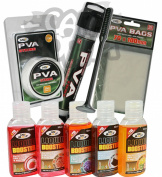 Carp Fishing PVA Set & 5 Liquids Tube Plunger + 7M String + Bags