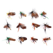 12Pcs Fly Fishing Dry Flies Lure Hooks Artificial Butterfly