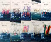 10 Assorted Bait & Mackerel Rigs Inc. Feathers Daylight and Sabiki