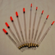 Clear waggler floats loaded X 10 mixed,straight & insert.Coarse fishing. INCLUDED & 1st Class Shipping.