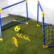 CostMad 2 x Football Soccer Goals Posts with Nets Pegs Ball & Pump Kids Childrens Junior Fun Small Mini Portable Indoor Outdoor Sport Training Practise Set