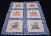 Childs Patchwork Applique Teddy Bear OK Baby Quilt Blanket Q10