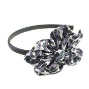 Satin Leopard print Aliceband Flower Purple