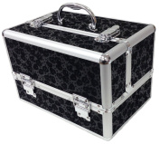Large Black Floral Professional Aluminium Beauty Cosmetic Box Make Up Case
