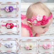Baby Hairband Koly Girls 5 PCS Elastic Headband Rose Flower Photography Headbands