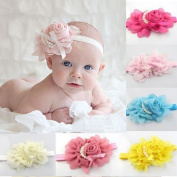 Baby Hairband Koly Girls 8PCs Rhinestone Chiffon Head Band Hair Flower Headbands