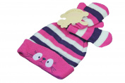 New Pink and Purple Kitten Winter Hat & Mittens - baby girl 0-12 months
