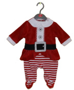 Gorgeous Baby Girl's 1st Christmas Velour Santa Outfit with striped legs