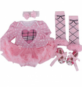 Anik Sunny Newborn Baby Girl Romper Dress Costume Clothes Jumpsuit 4Pcs Long Sleeve Outfit Tutu Skirt Legging Warmer +Shoes+Headband