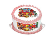 Paw Patrol 19cm Inch Round Circular Edible Cake Topper Decoration - Printed on Premium Quality Icing Sheets - With FREE Banner!