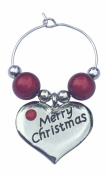 Individual Heart Shaped Merry Christmas Wine Glass Charm with Red Rhinestone comes in Gift Card Handmade by Libby's Market Place