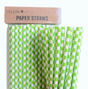 Pack of 100 Green Cube Retro Drinking Paper Straws Birthday & Party & Wedding